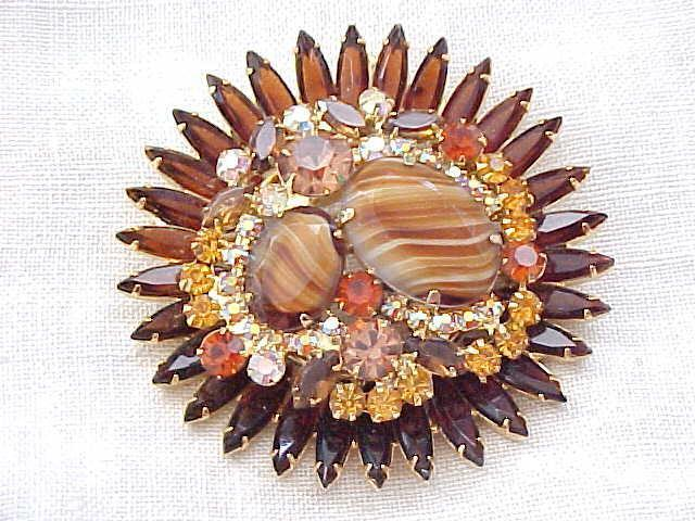 07 - Juliana Massive Brooch, Earrings  - Striped Stones, Rhinestones