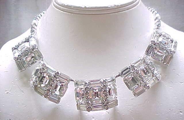 Extraordinary Rhinestone Choker Necklace - Huge Baguettes and Emerald Cut Rhinestones