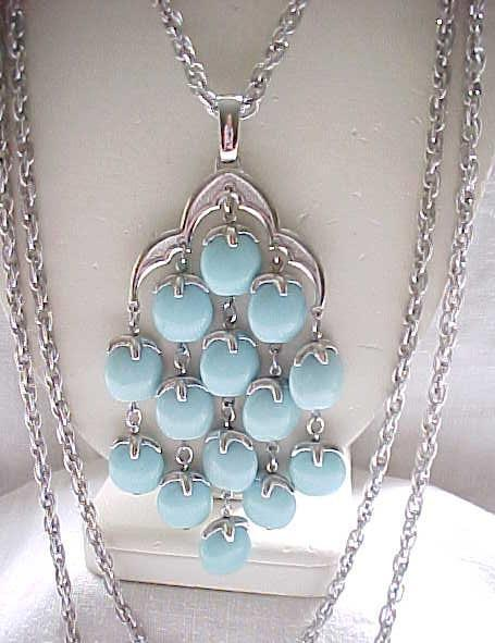 Trifari Waterfall Necklace - Light Blue and Silvertone Metal