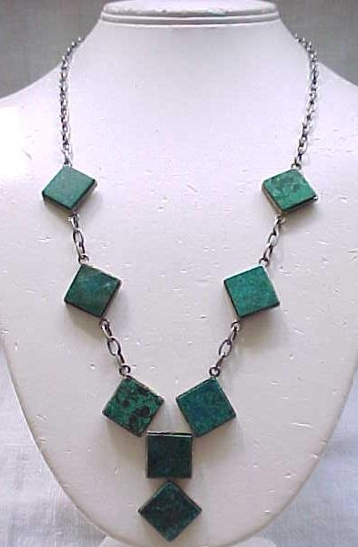 Sterling Necklace with Natural Stone Plaques - Awesome Design