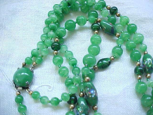 Beautiful Necklace Green Venetian Beads