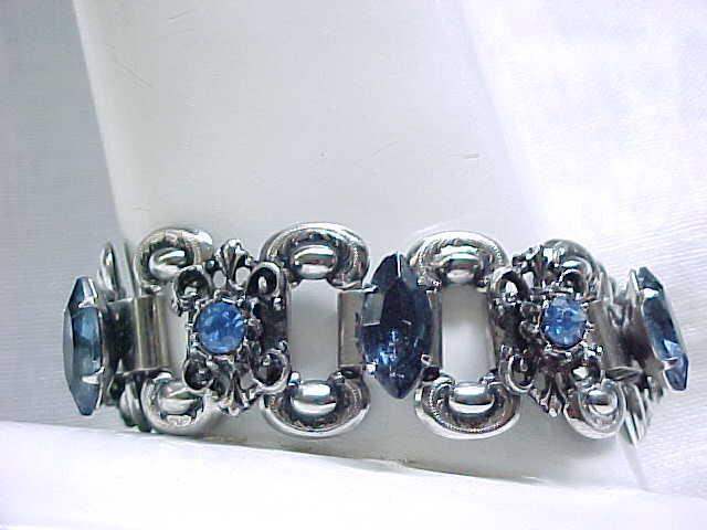 02 - Silvertone Book Chain Bracelet with Blue Rhinestone Navettes