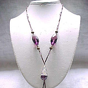 Stunning Czech Necklace, Purple Beads, Amazing End Caps