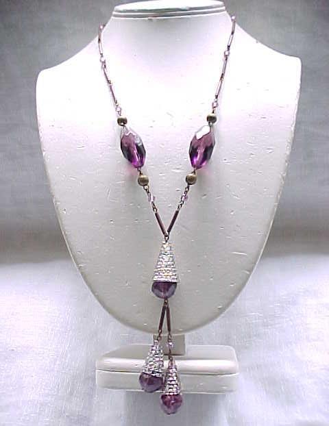 Stunning Czech Necklace, Purple Beads, Amazing End Caps