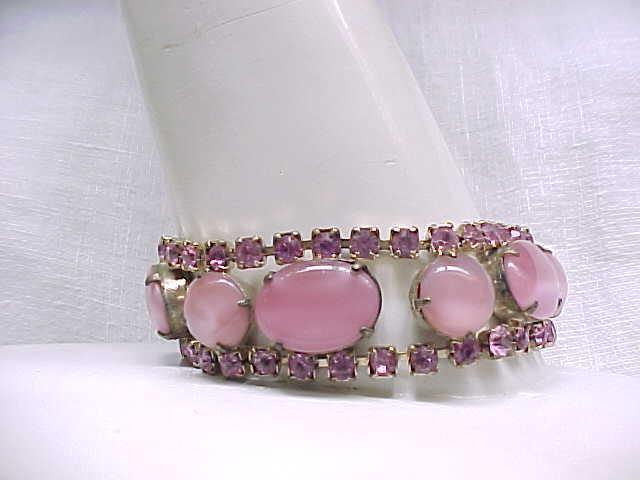 03 - Gorgeous Pink Glass Moonstone and Rhinestone Bracelet