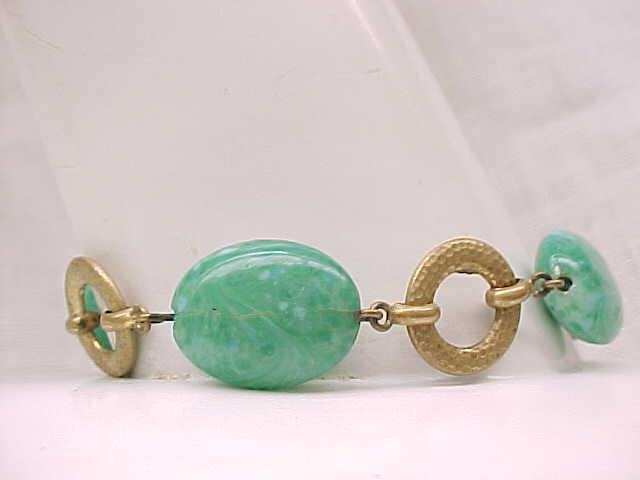 Czech Art Glass Bracelet - 1930's/'40's - Green