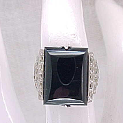 05 - Classy Black Onyx and Marcasite Sterling Ring - Size 4 1/4