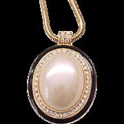 Pretty Pendant Necklace Large Faux Pearl, Rhinestones, Black Enamel - Monet