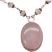 Exceptional Rose Quartz Necklace in Sterling Silver