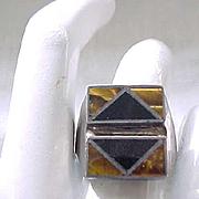 Sterling Silver Ring - Black Onyx, Tiger Eye - Size 10 1/2