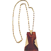 Classic Trifari MOD Pendant Necklace - Faux Tortoise, Goldtone