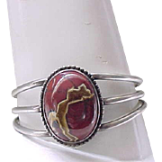 Sterling Silver Bracelet Fabulous Center Stone - Jasper