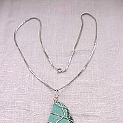 03 - Pretty Artisan Made Turquoise and Sterling Necklace