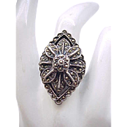 Spectacular Sterling & Marcasite Ring - Size 8 1/2