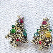 01 - Pakula Christmas Tree Earrings - Hollycraft