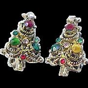 01 - Pakula Christmas Tree Earrings - Hollycraft
