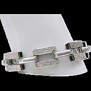 Beautiful and Unusual Sterling Silver Bracelet - Embossed Design