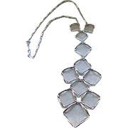 Chic Silvertone Necklace - Extra Long Pendant with Mesh
