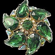 Gorgeous Emerald Green Rhinestone Brooch - Unusual Shaped Stones