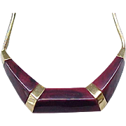 Modernist Trifari Necklace - Marbled Lucite Over-Lay, Flex Chain