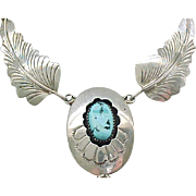 Native American Sterling and Turquoise Necklace - Detailed