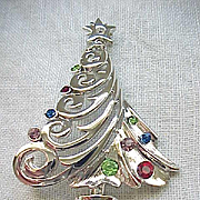 Christopher Radko Christmas Tree Pin - Silvertone Metal - MIB
