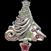 Christopher Radko Christmas Tree Pin - Silvertone Metal - MIB