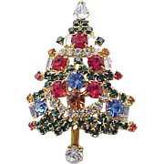 Gorgeous Christmas Tree Candle Tree Pin - Signed
