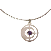 Double Sided Sterling Pendant - Moonstone and Moon and Star with Amethyst