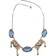 Superb 1930's Czech Necklace - Blue Rhinestones, Enameling