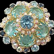 Lovely Juliana Domed Shape Pin Aqua Rhinestones - Book Piece