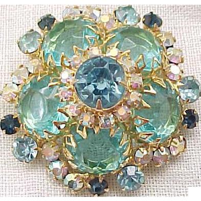 Lovely Juliana Domed Shape Pin Aqua Rhinestones