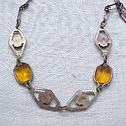 04 - Pretty Art deco Czech Necklace - Amber Rhinestones