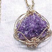 Amethyst Crystal Pendant Necklace - Druzy