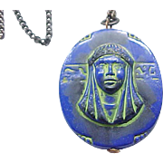 Czech Egyptian Revival Pendant Necklace - Isis