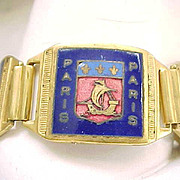 Outstanding Deco Souvenir Bracelet - Paris - Enamel Coats of Arms - France