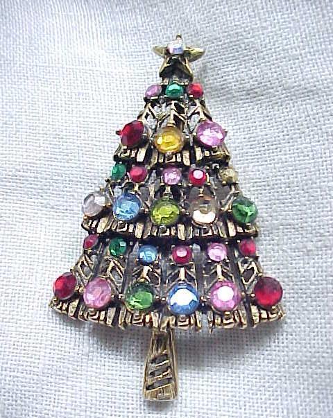 Hollycraft Christmas Tree Pin - Multi Color