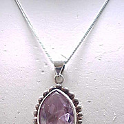 Sterling Pendant, Earrings - Large Pale Purple Rhinestones