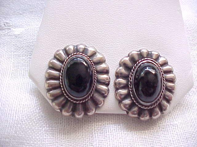 Pretty Sterling and Onyx Earrings - Mexico