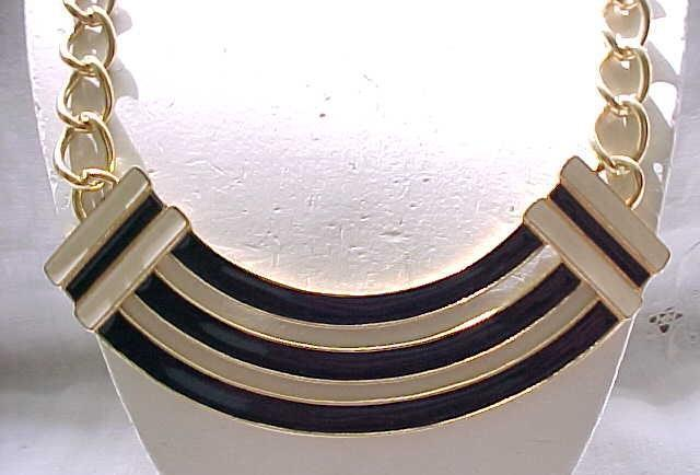 Chic Monet Black & Cream Enamel Chunky Necklace