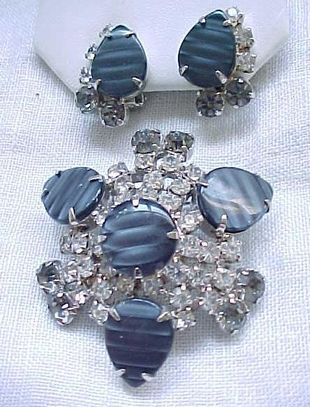 12 - Unusual and Gorgeous Rhinestone and Moonglow Pin and Earring Demi