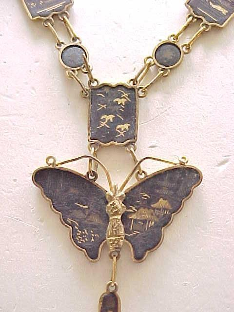 Damascene Butterfly Necklace, Earrings Made in Japan 1940's/'50's