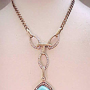 Exquisite Necklace Sterling with Gold Vermeil - Rhinestones, Faux Turquoise Centerpiece