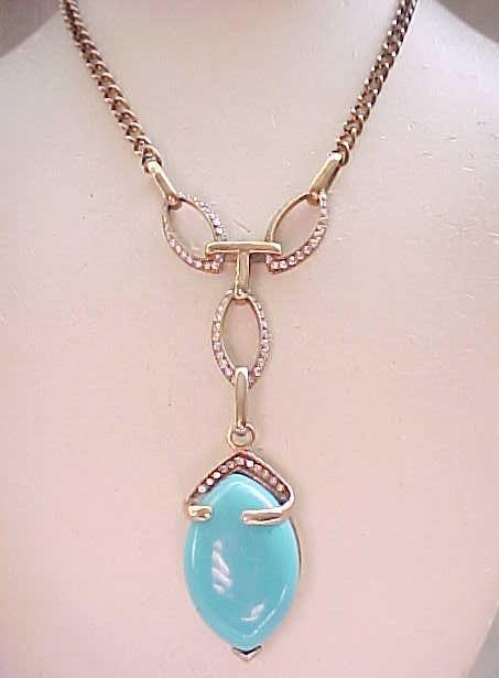 06 - Exquisite Necklace Sterling with Gold Vermeil - Rhinestones, Faux Turquoise Centerpiece