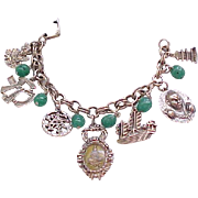 Asian Theme Charm Bracelet with 7 Charms and Glass Beads