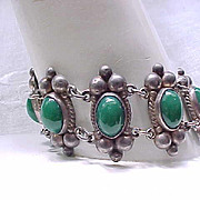 Mexican Silver Bracelet Green Stones - Sterling
