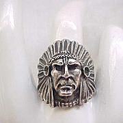Sterling Silver Figural Indian Chief Ring - 9 1/2