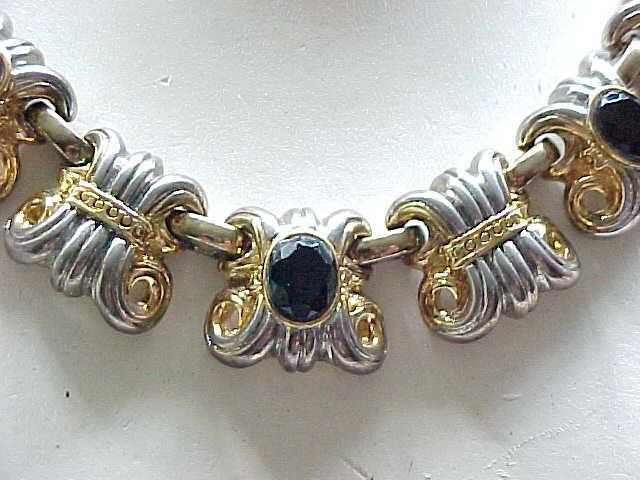 02 - Etruscan Revival Necklace - Ornate Goldtone, Silvertone and Black Stones