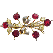 Lovely Large Brooch Sterling with Gold Vermeil, Red Rhinestones