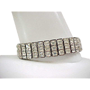 Art Deco Rhinestone Bracelet - 3 Rows Square Cut Diamante Rhinestones